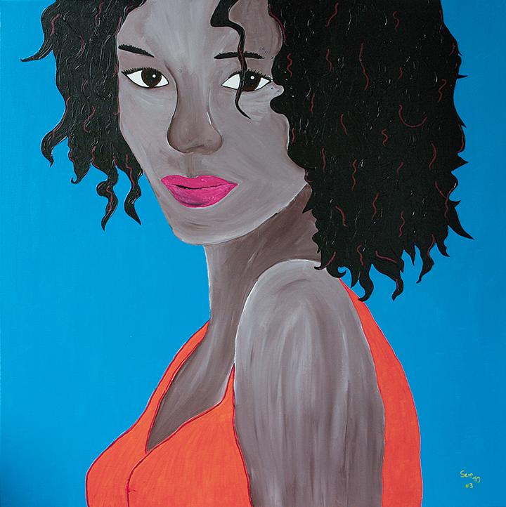 """Afrika"" Acryl mit Swarovski-Steinen 90 cm x 90 cm 2010"