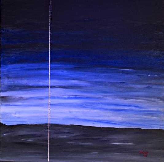 """Blue Sky"" Acryl, Swarovski Kristalle 80 cm x 80 cm 2008"