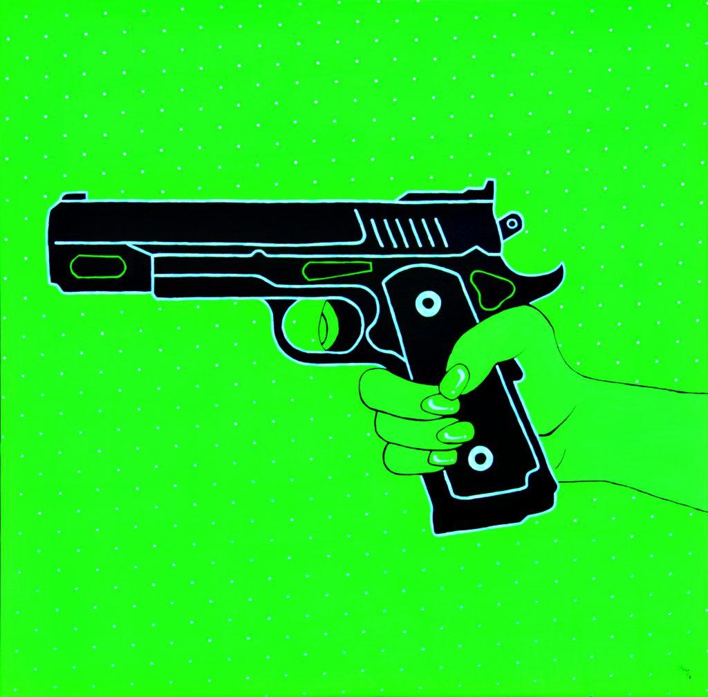 """""""Pistol green"""" Acryl mit Swarovski-Kristallen 80 cm x 80 cm"""