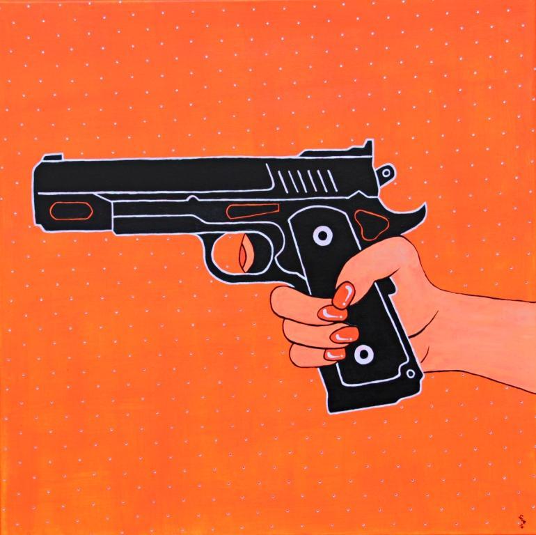 """""""Pistol Orange"""" Acryl mit Swarovski-Kristallen 80 cm x 80 cm"""