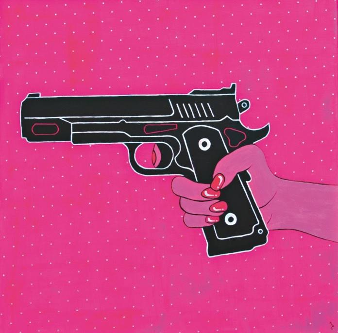 """""""Pistol pink"""" Acryl mit Swarovski-Kristallen 80 cm x 80 cm"""